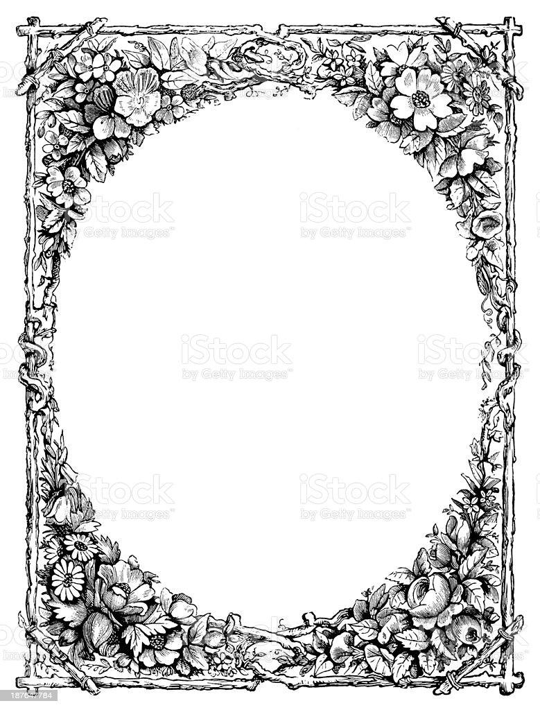 Floral frame - Victorian engraving vector art illustration