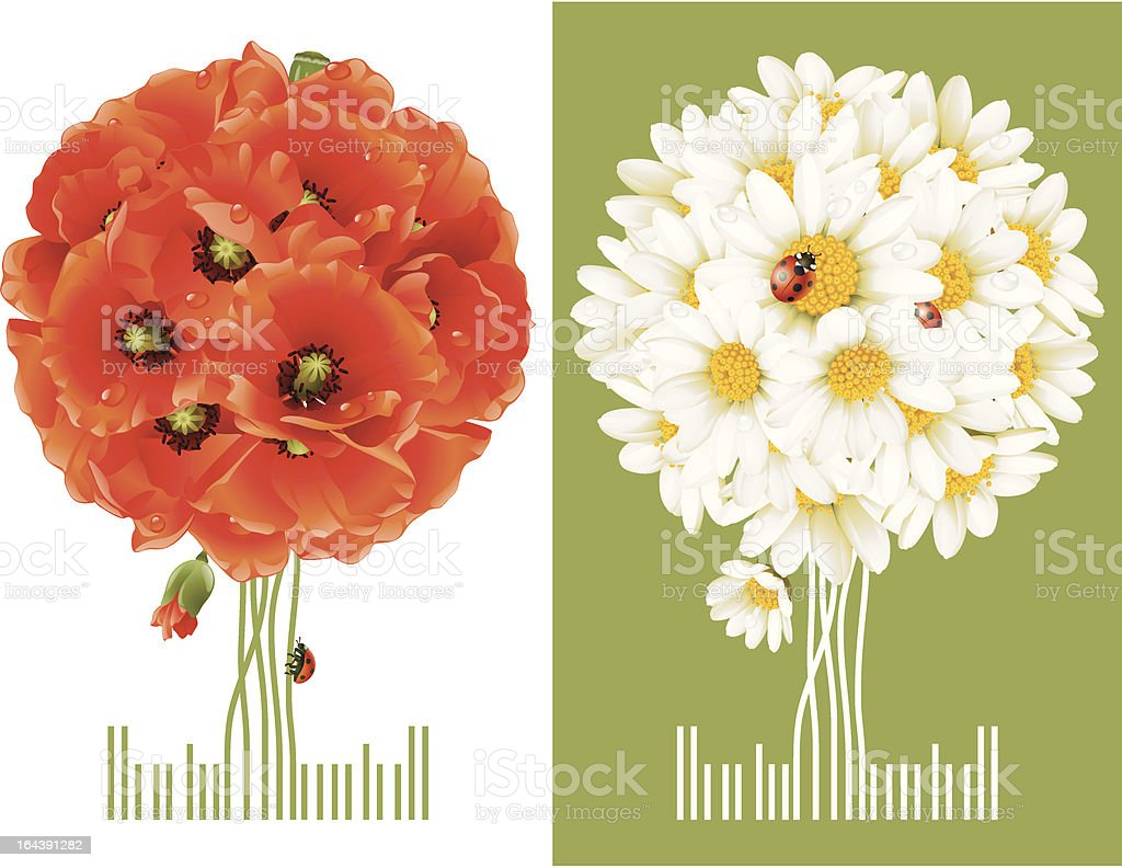 Floral Greeting Cards royalty-free stock vector art