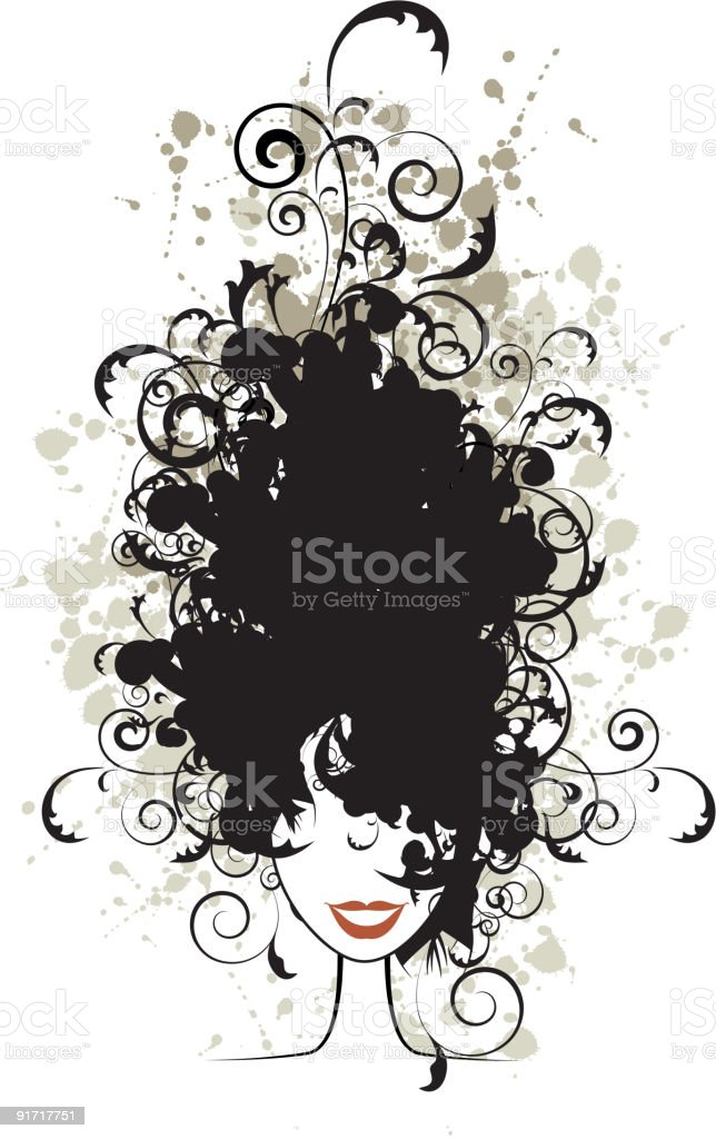 Floral hairstyle, woman face silhouette for your design royalty-free stock vector art