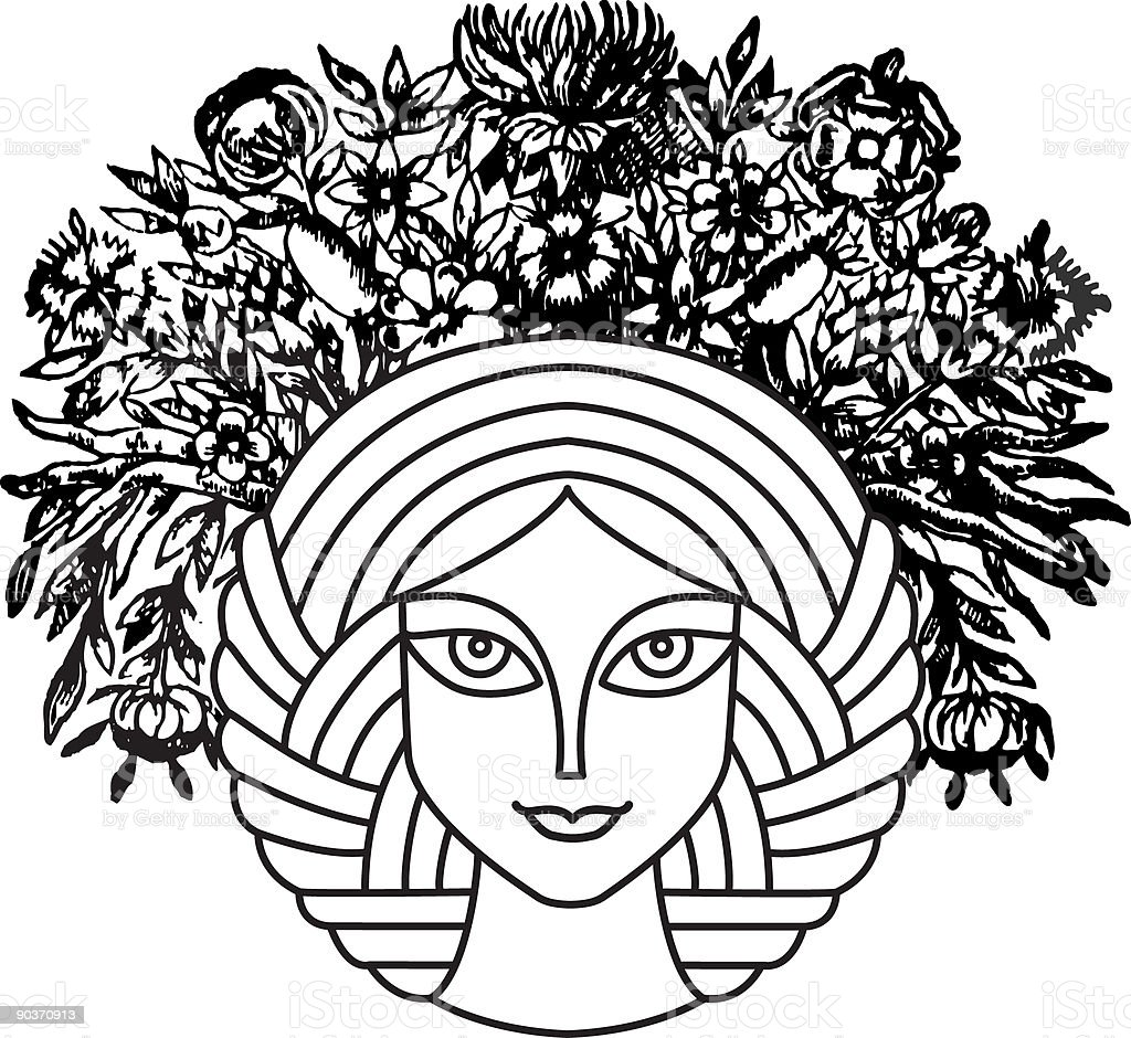 Floral Lady vector art illustration