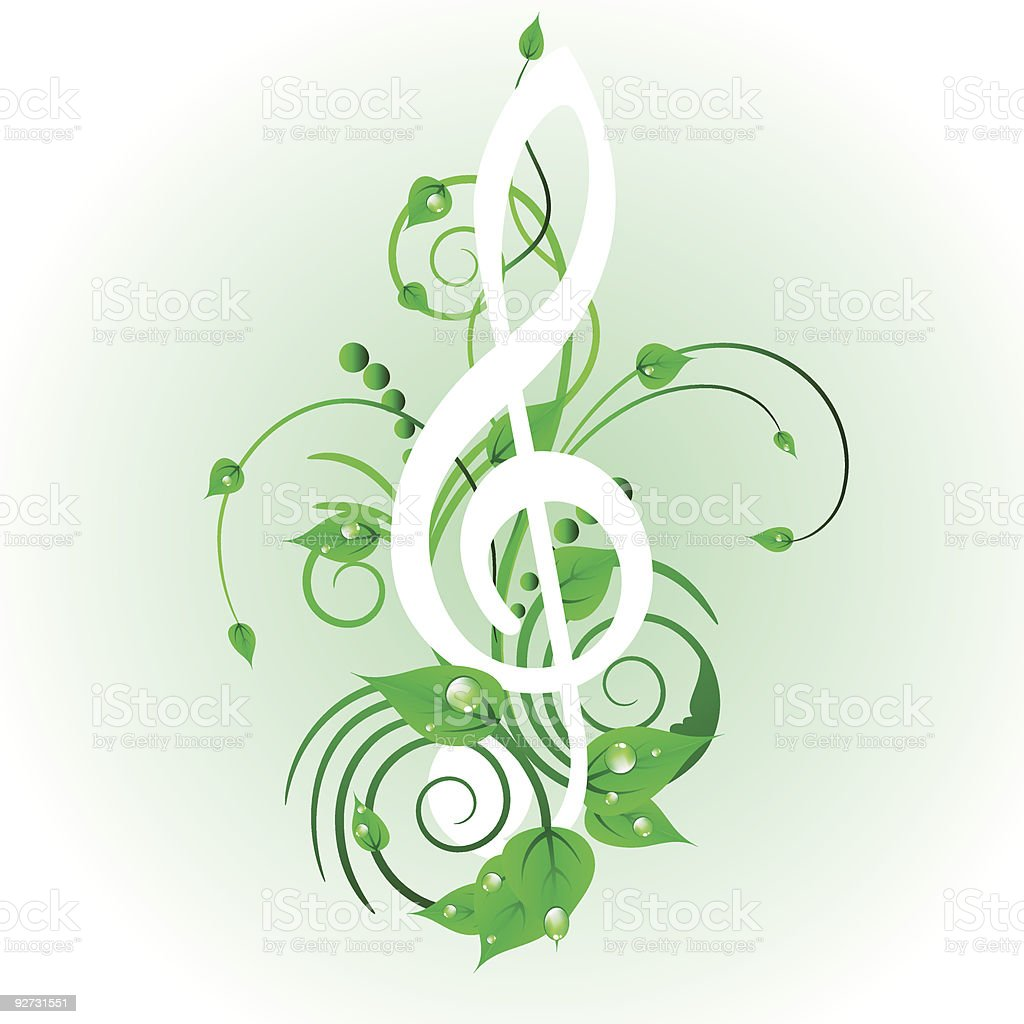 floral music background royalty-free stock vector art