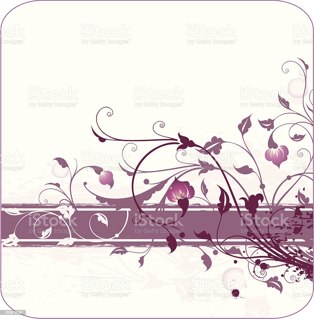 floral ornament with banner for text royalty-free stock vector art