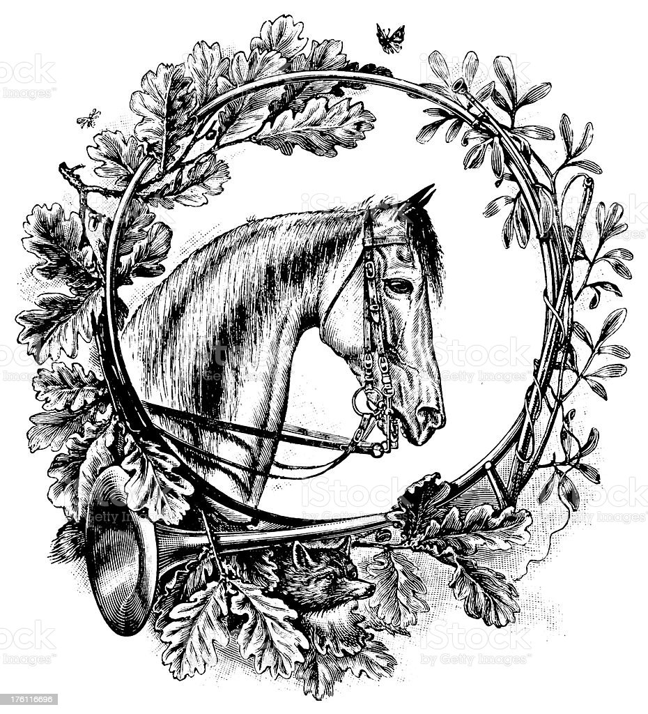 Floral ornament with Horse Head | Antique Design Illustrations royalty-free stock vector art