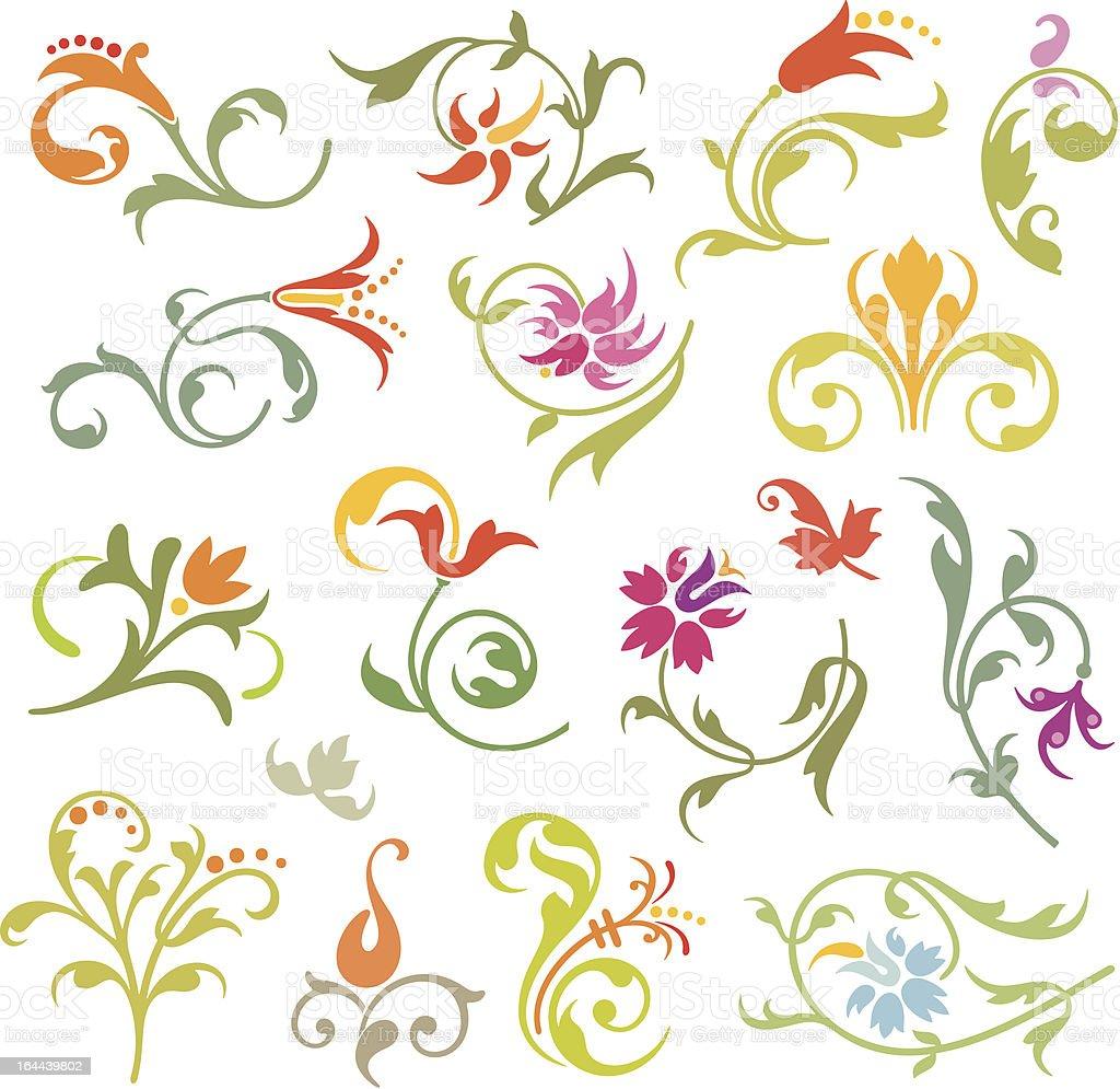 Floral Ornamental Designs Set royalty-free stock vector art