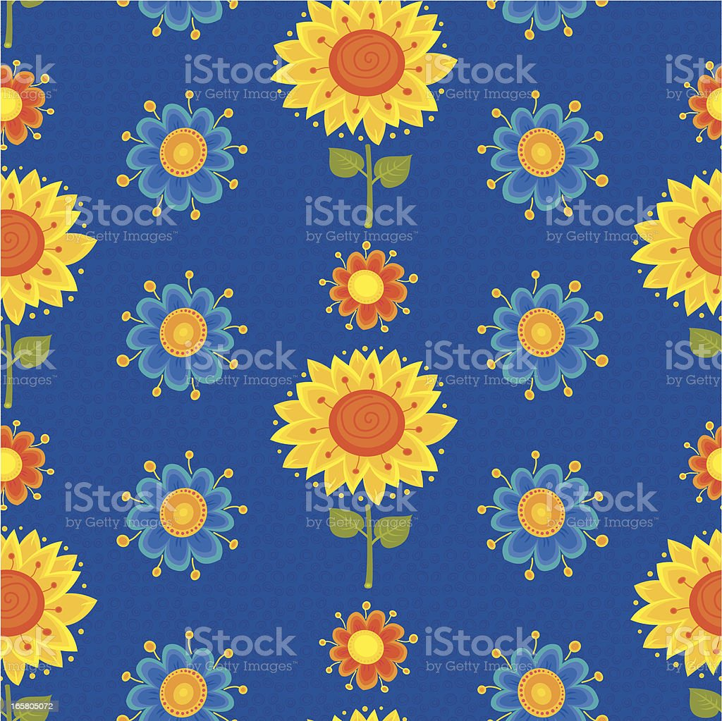 Floral Pattern (Sunflowers and Daisies) royalty-free stock vector art