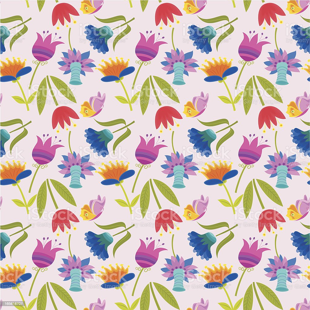 Floral Pattern with Butterflies royalty-free stock vector art
