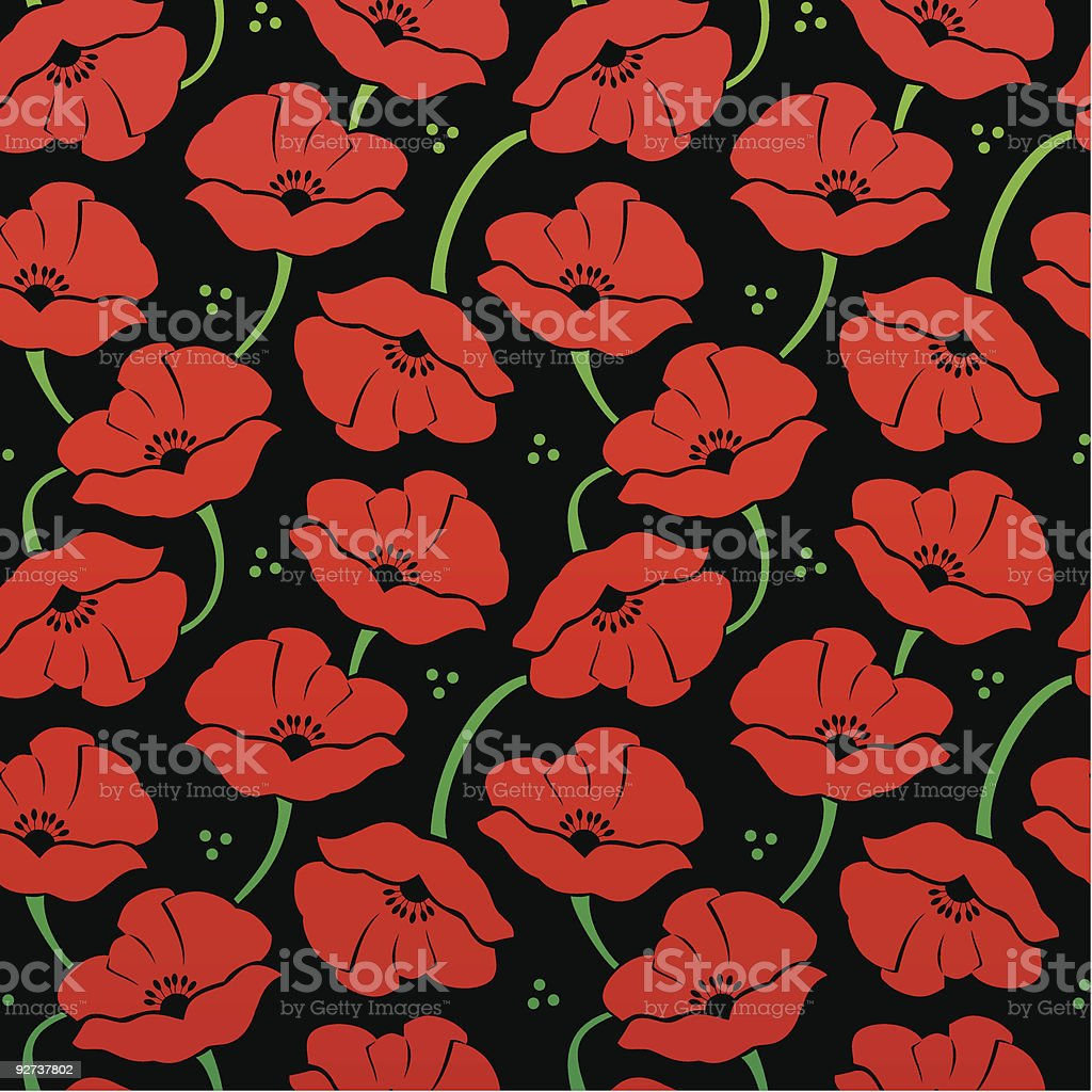 Floral pattern with poppies royalty-free stock vector art