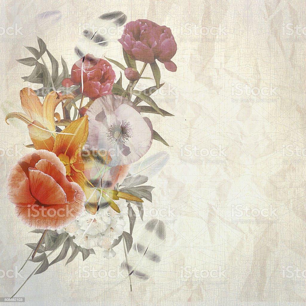floral postcard vector art illustration