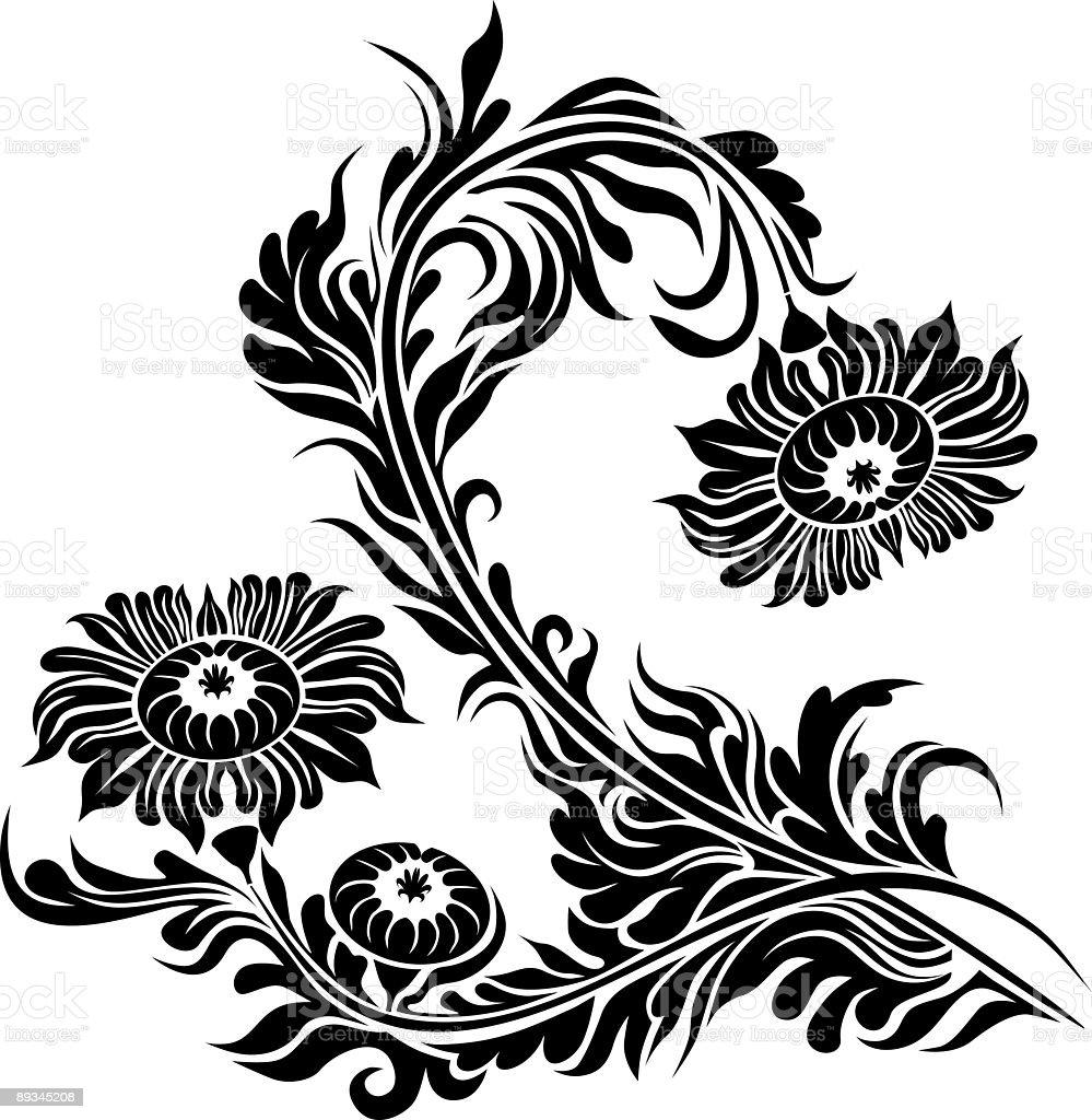 Floral scroll II vector art illustration