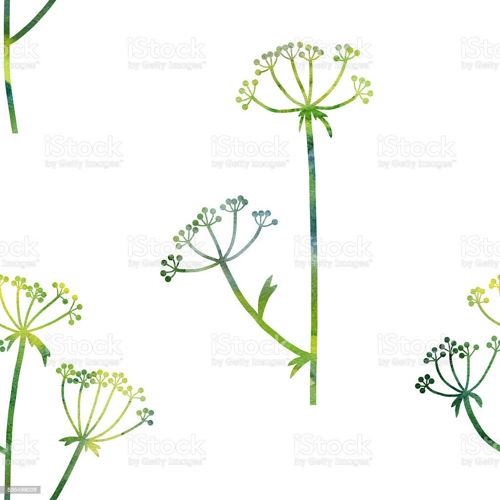 floral seamless pattern with dill plant vector art illustration