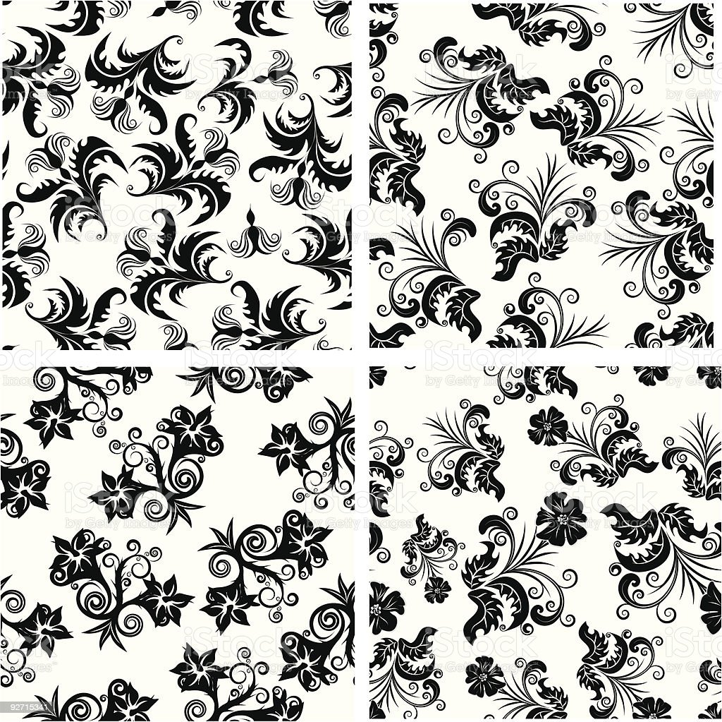 floral seamless set royalty-free stock vector art