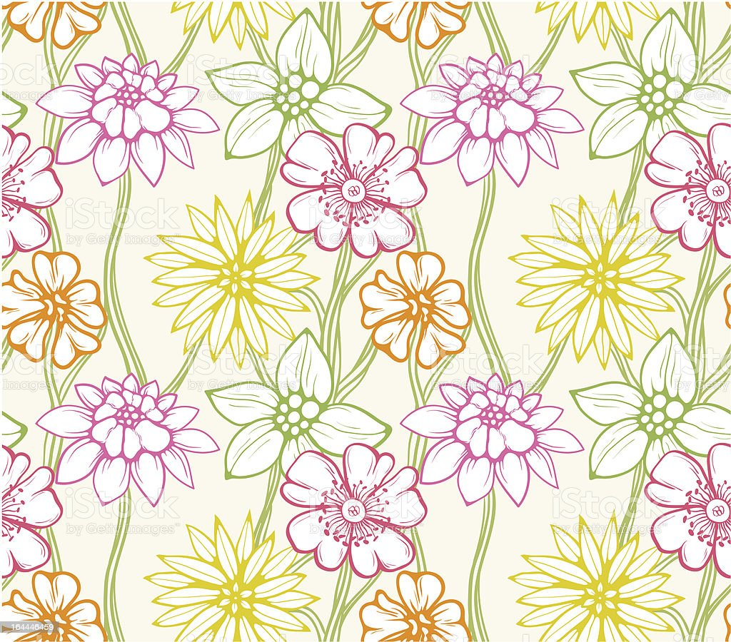 Floral seamless wallpaper royalty-free stock vector art