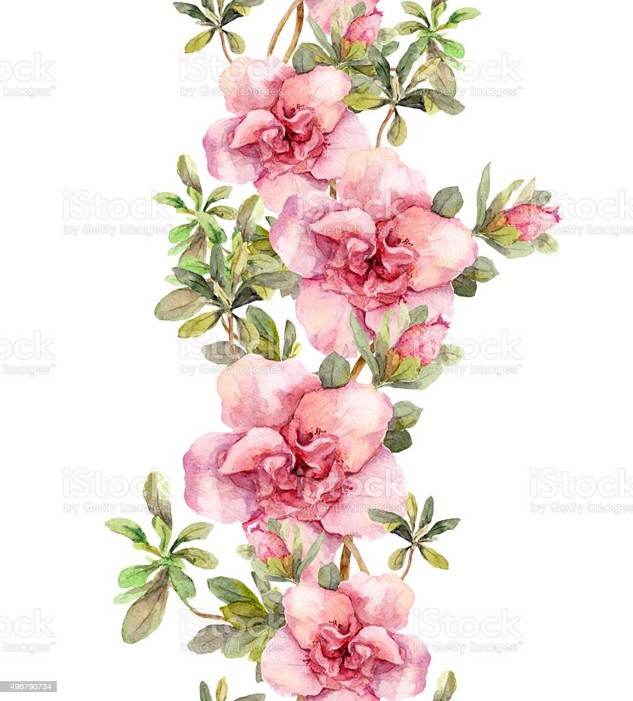 Floral seamless watercolor frame border with pink flowers. Aquare vector art illustration