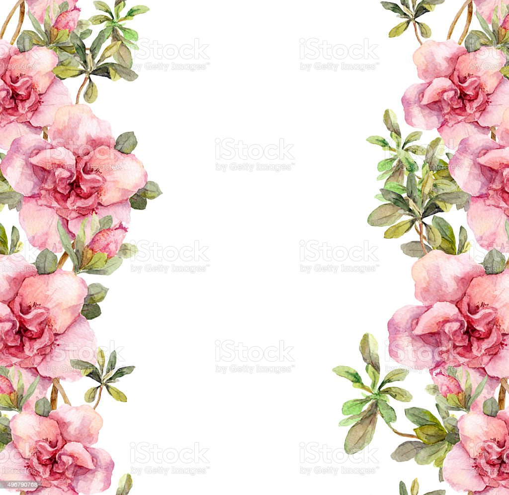 Floral seamless watercolor frame border with pink flowers. Aquarel vector art illustration