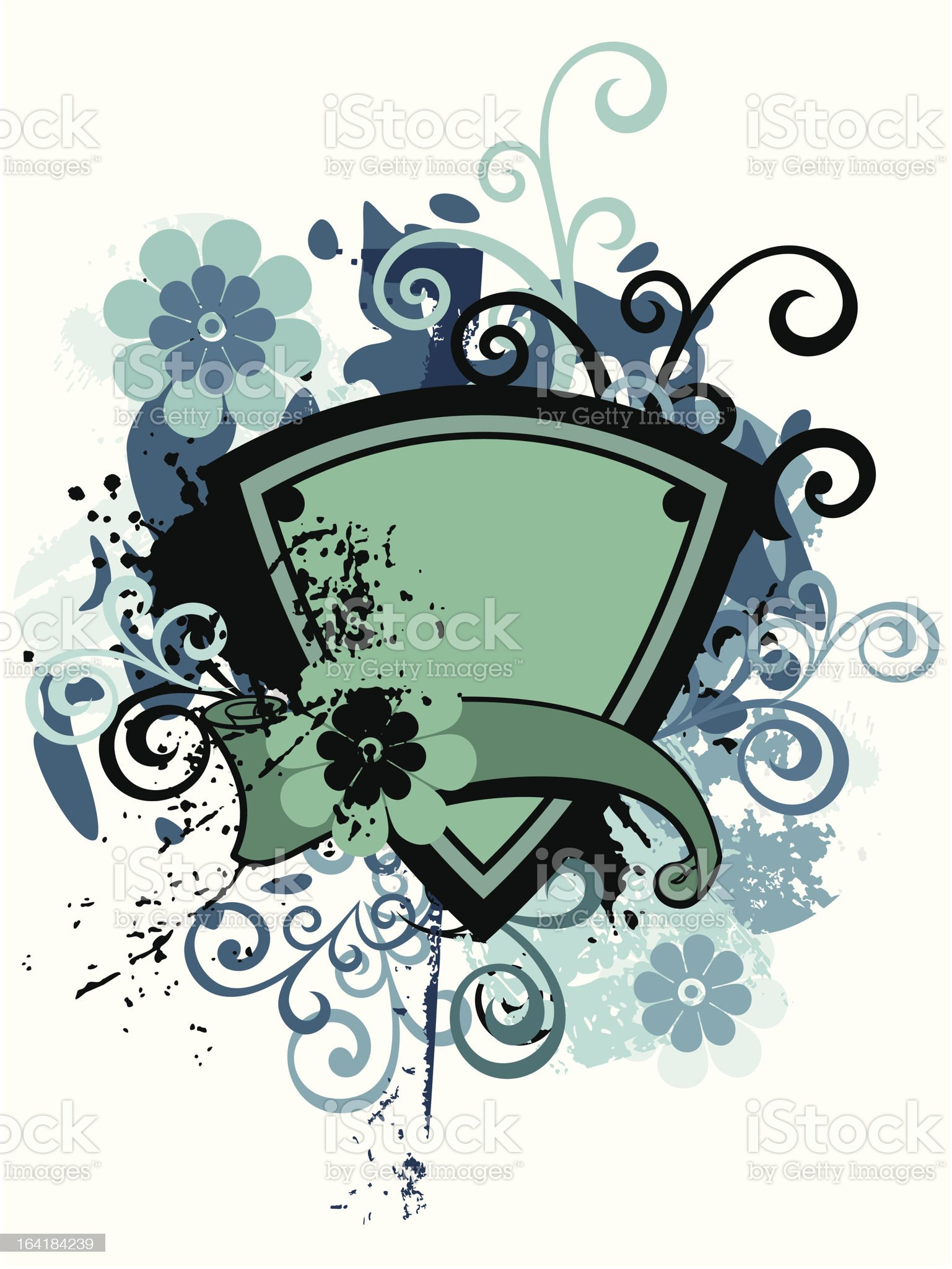 Floral Shield Background royalty-free stock vector art