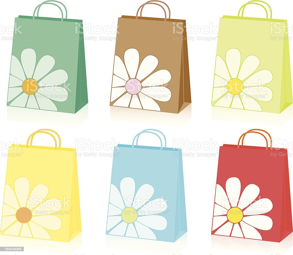 Floral Shopping Bags royalty-free stock vector art