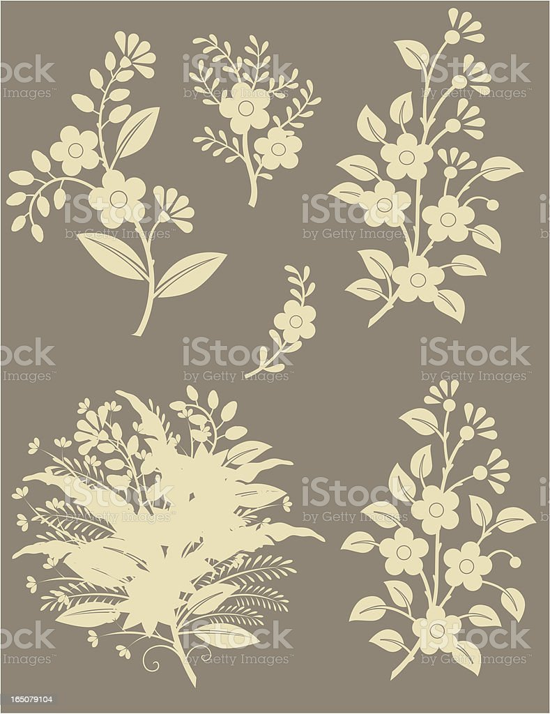 Floral silhouettes royalty-free stock vector art