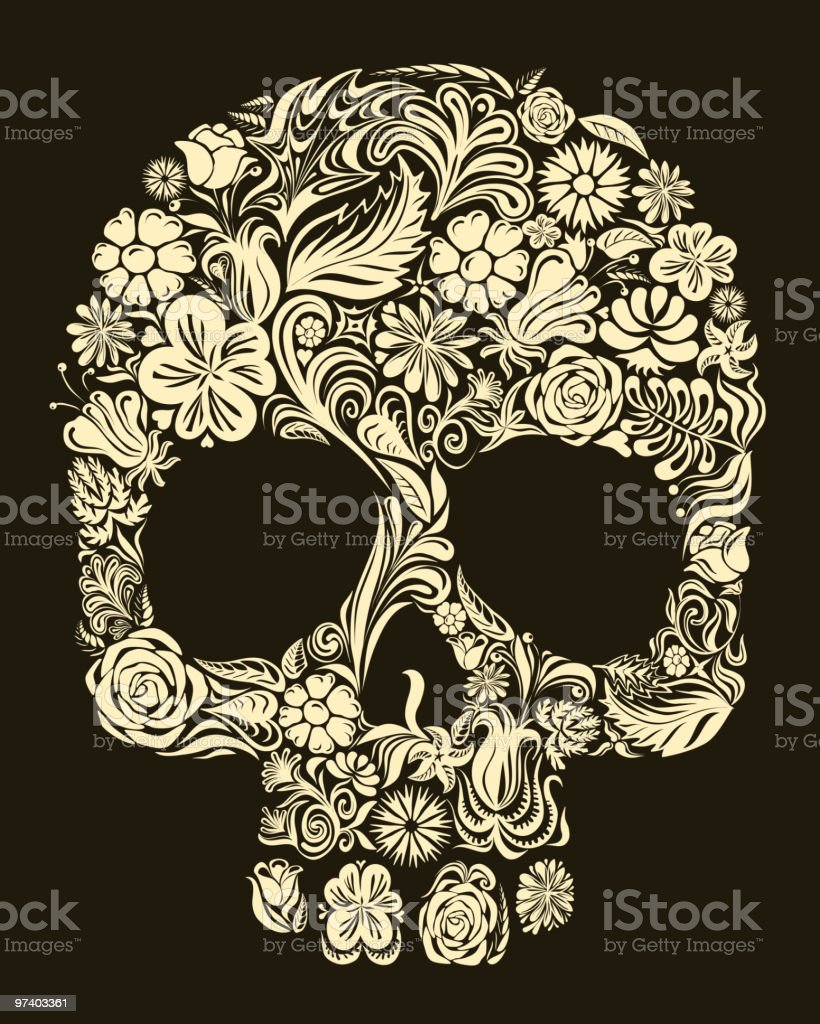 Floral skull royalty-free stock vector art