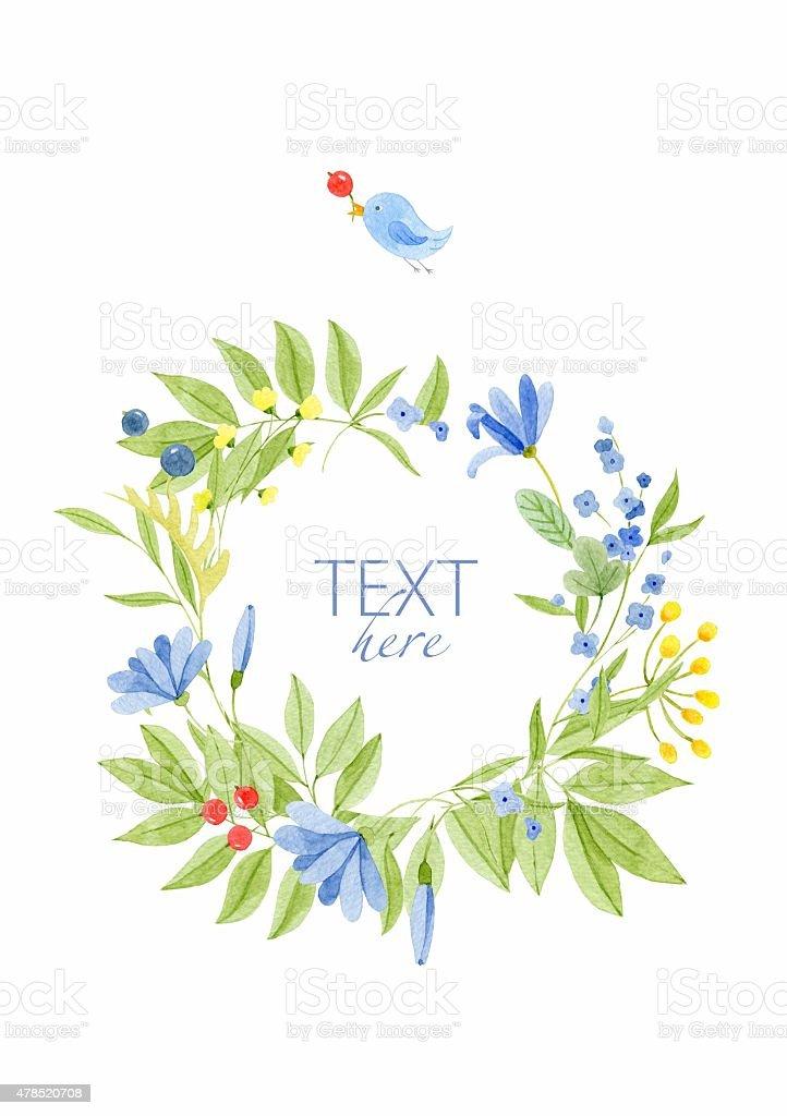 Wieniec kwiatowy z ptak stockowa ilustracja wektorowa royalty-free