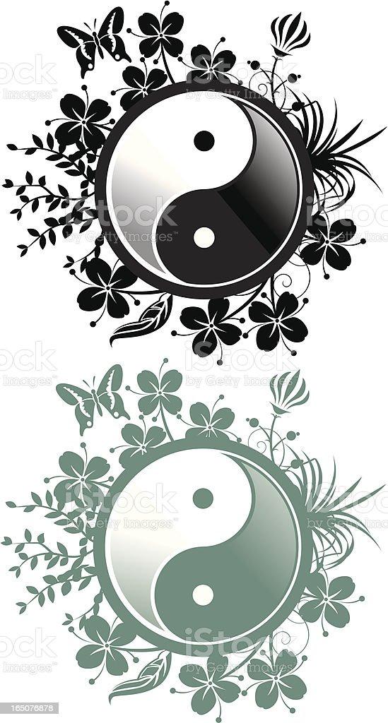 Floral Yin Yang royalty-free stock vector art