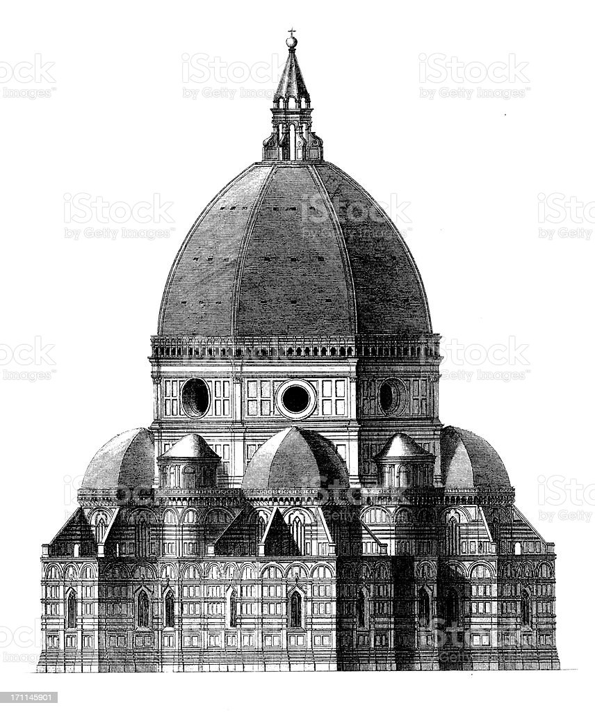Florence Cathedral | Antique Architectural Illustrations vector art illustration