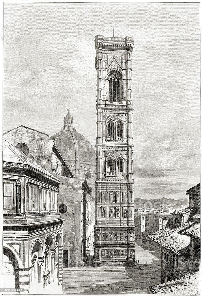 Florence, Giotto's bell tower (campanile) vector art illustration