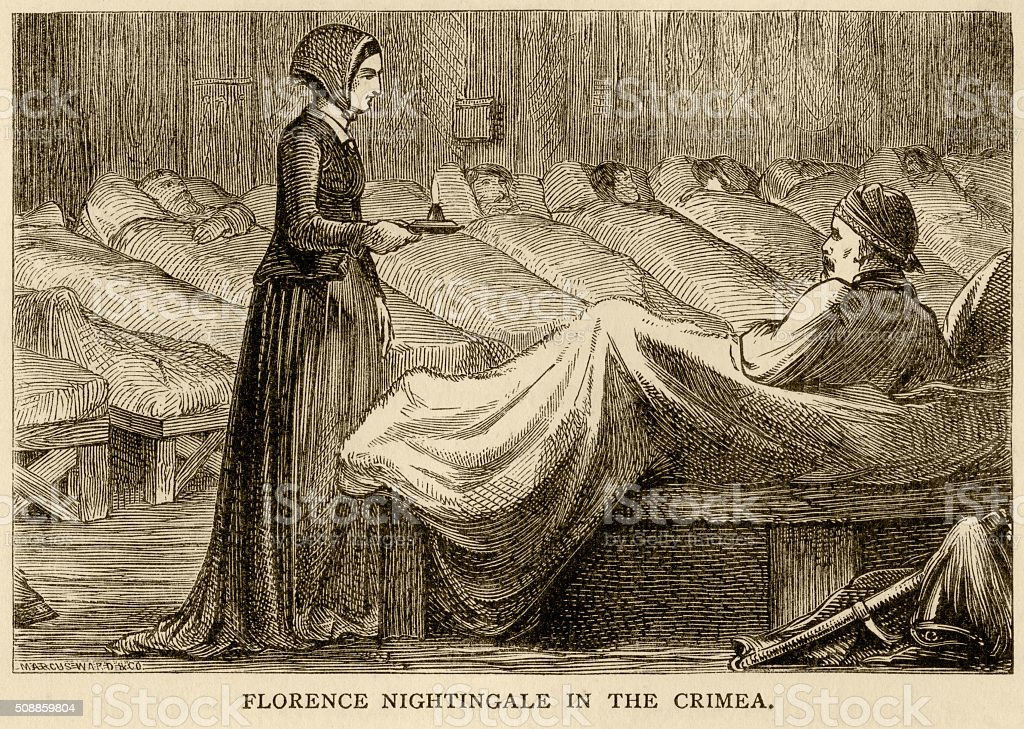 Florence Nightingale in the Crimea vector art illustration