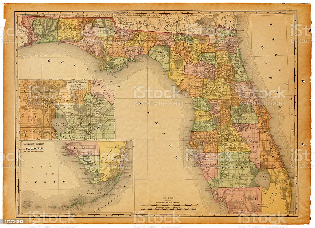 Florida Old Map vector art illustration
