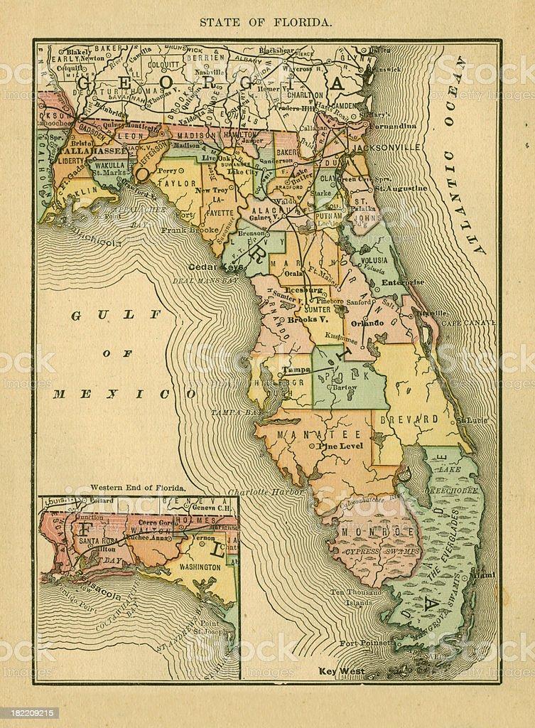 Florida | USA Antique Maps High Resolution vector art illustration