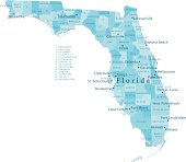 Florida Vector Map Regions Isolated