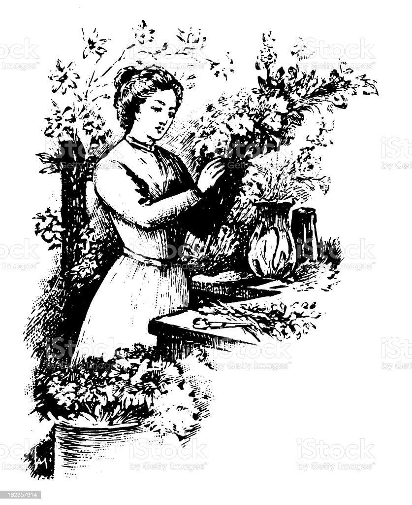 Florist   Antique Design Illustrations royalty-free stock vector art