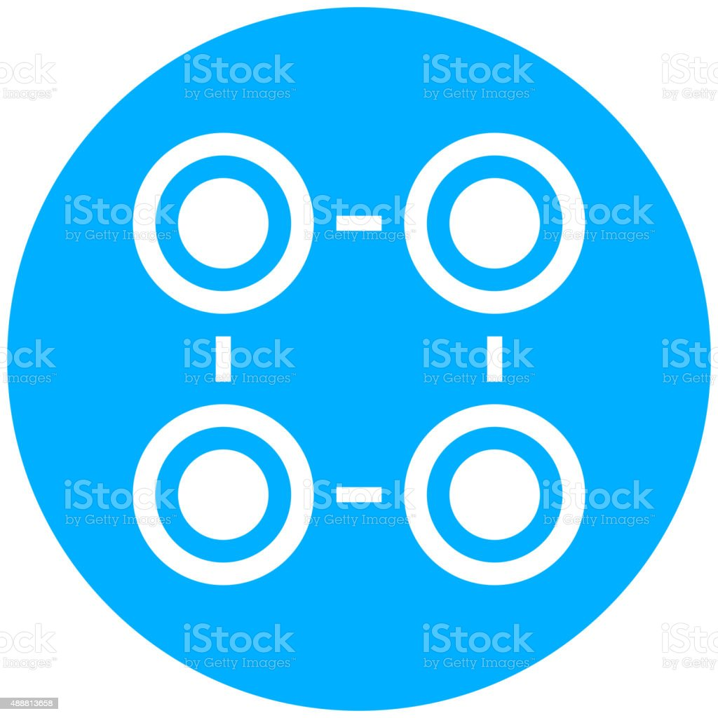 Flowchart icon on a round button. vector art illustration