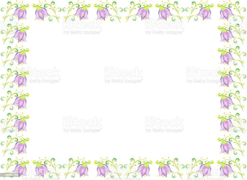 Fiori Campanula disegno su carta illustrazione royalty-free