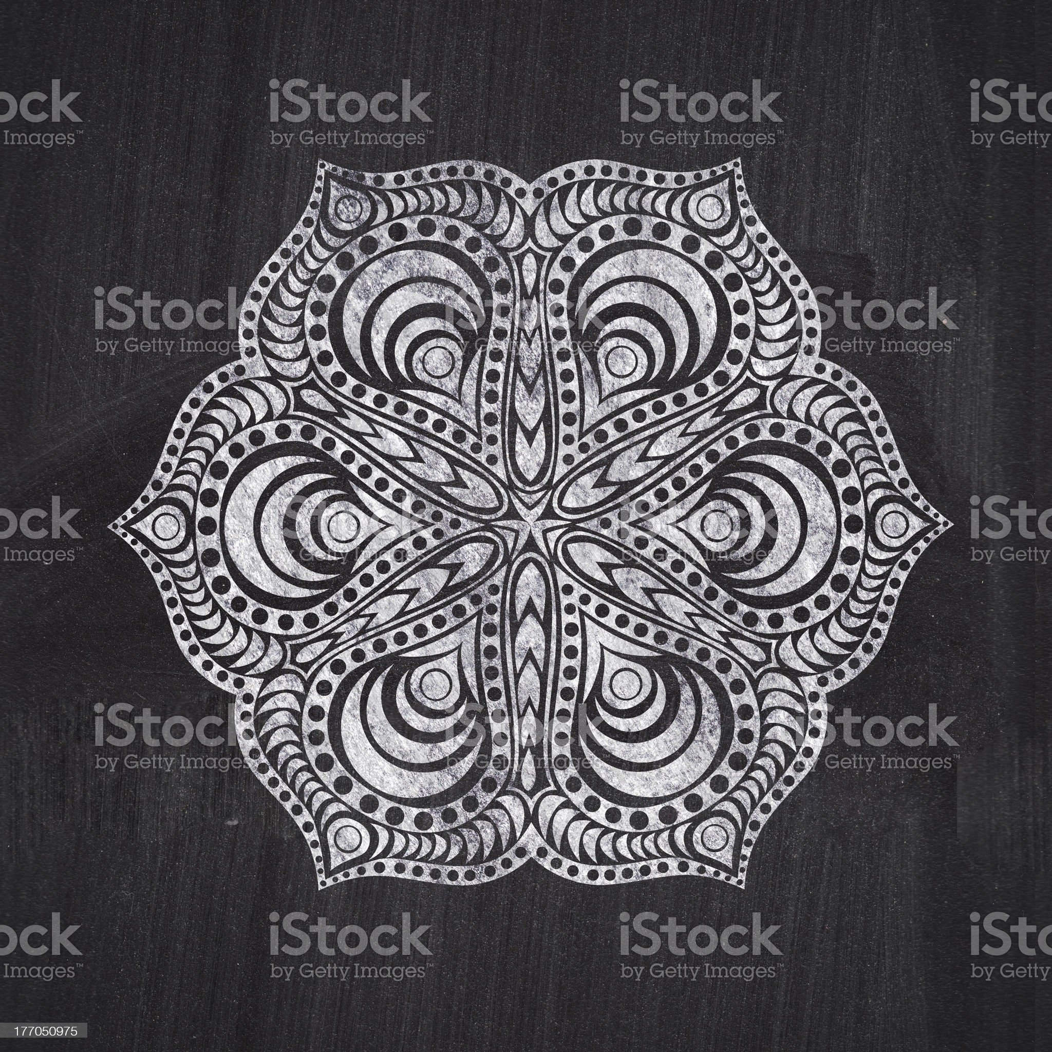 Flower chalk drawing on chalkboard blackboard royalty-free stock vector art