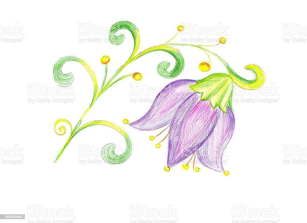 Fiore disegno su carta illustrazione royalty-free