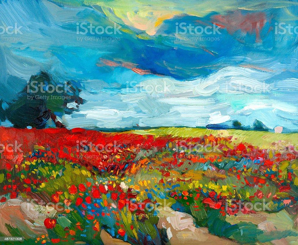 Flower fields vector art illustration
