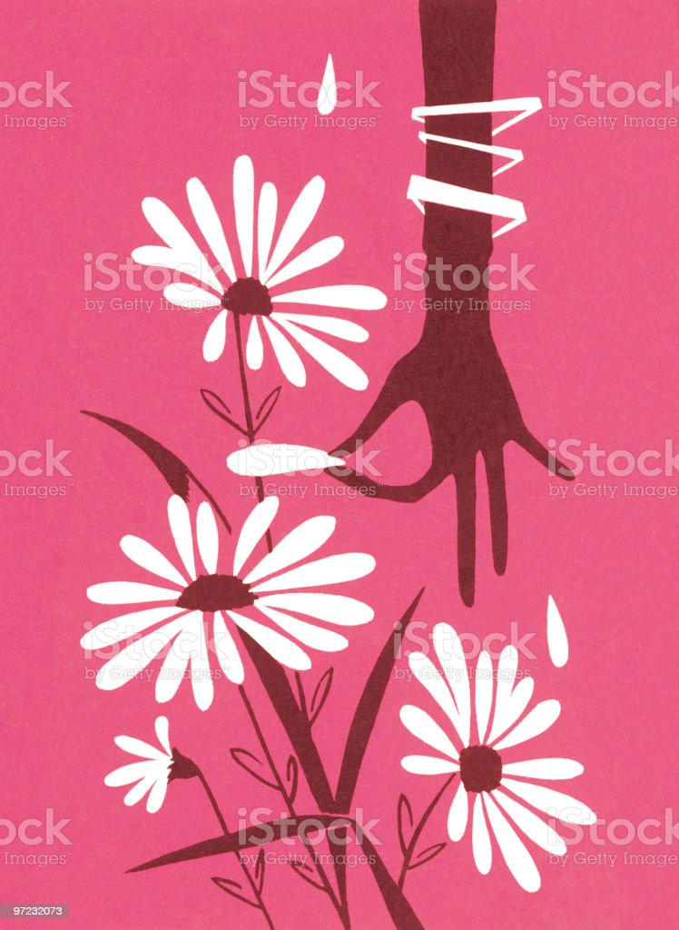 Flower pickin' vector art illustration