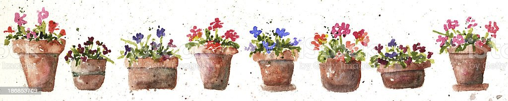 Flower Pots in Watercolor vector art illustration