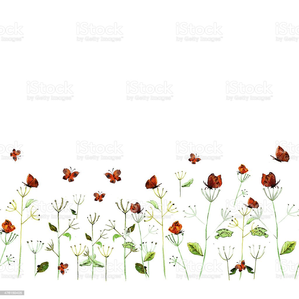 Flower watercolor card royalty-free stock vector art