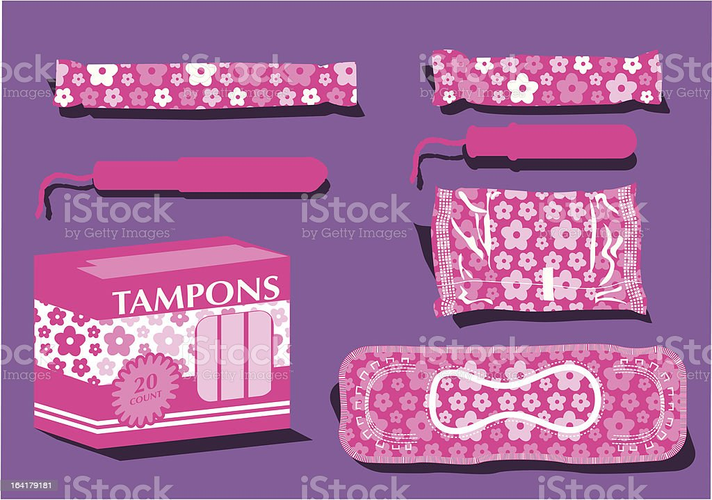 Flowered Feminine Hygiene Products vector art illustration