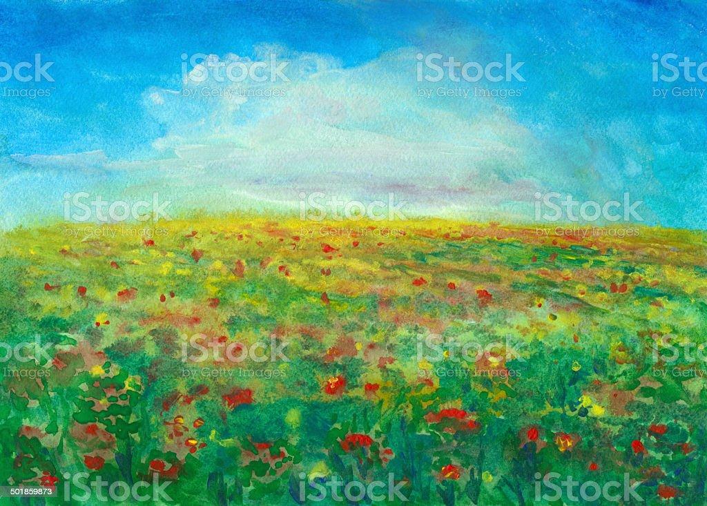 Flowering Meadow vector art illustration