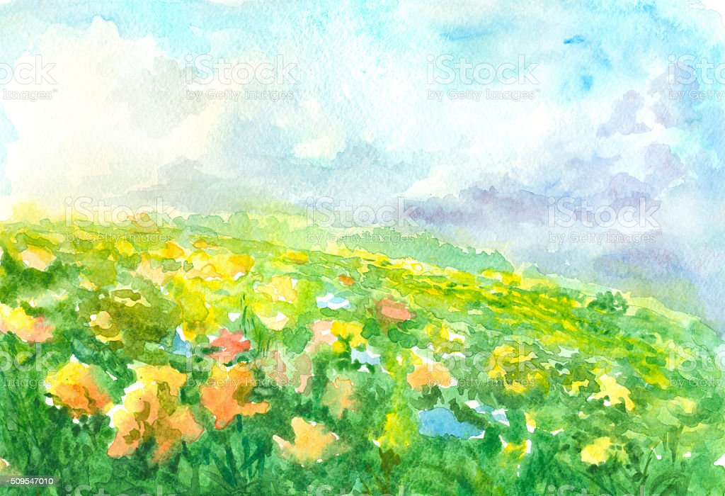 flowering meadow, watercolor painting vector art illustration