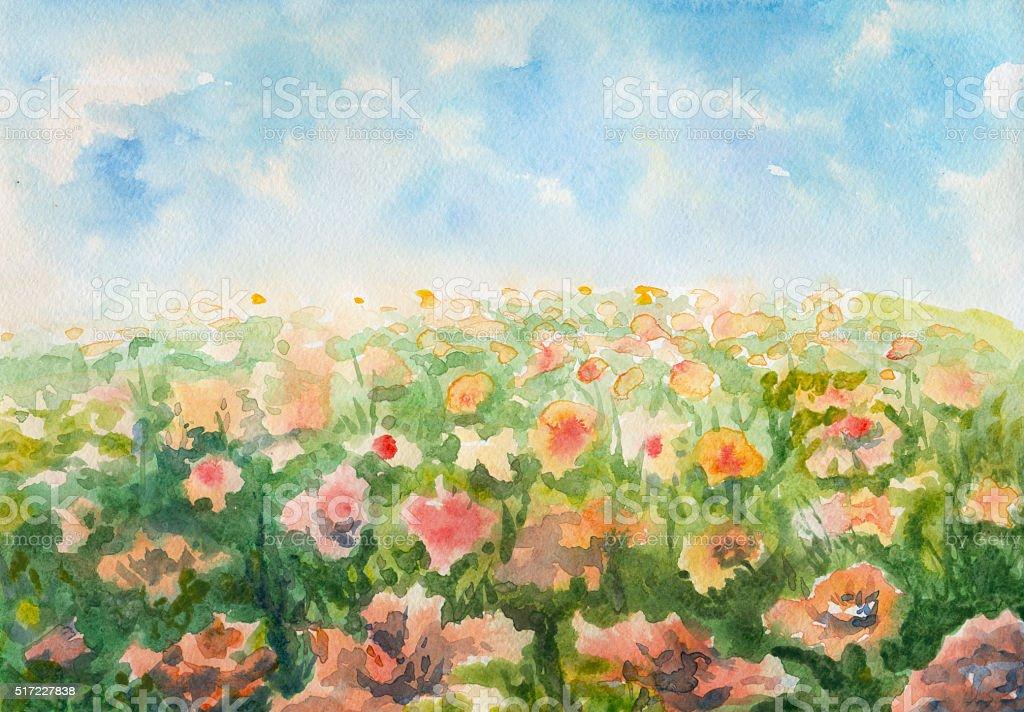 flowering meadow, watercolor painting vector art illustration