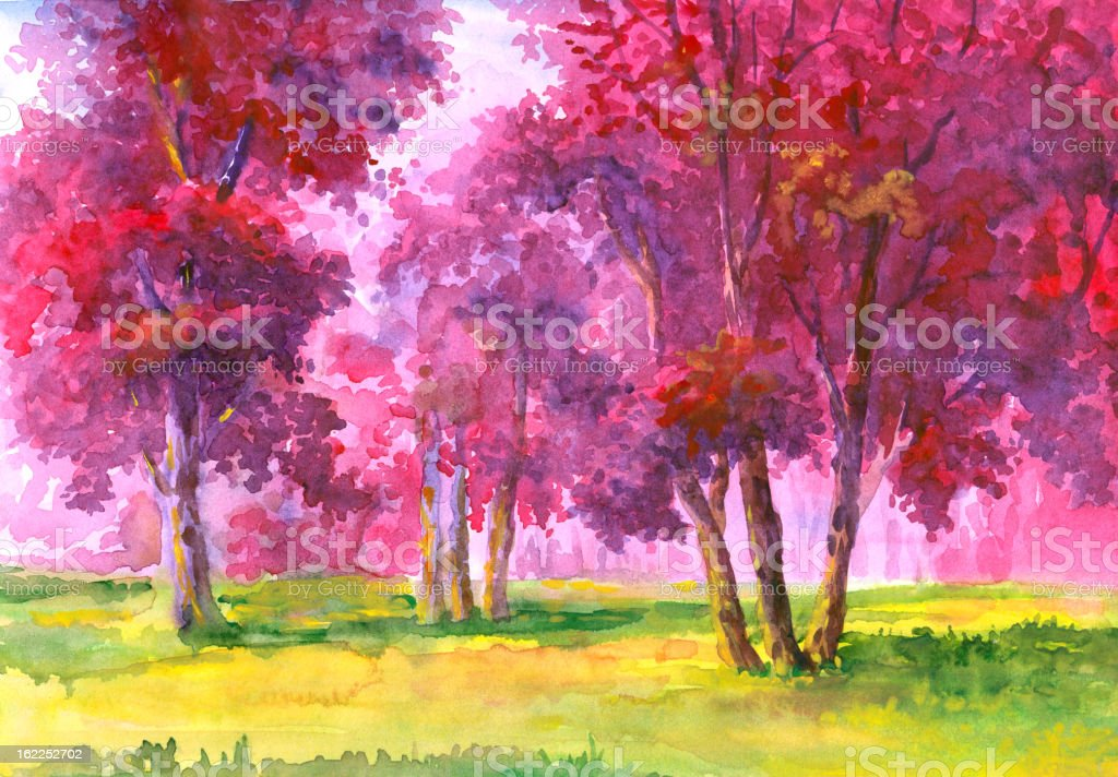 Flowering Trees royalty-free stock vector art