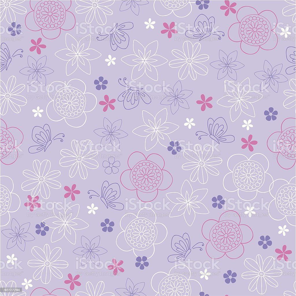 Flowers and Butterfly Seamless Repeat Pattern Vector royalty-free stock vector art