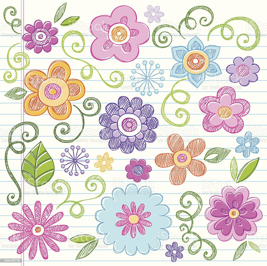 Flowers Back to School Sketchy Doodle Design Elements royalty-free stock vector art