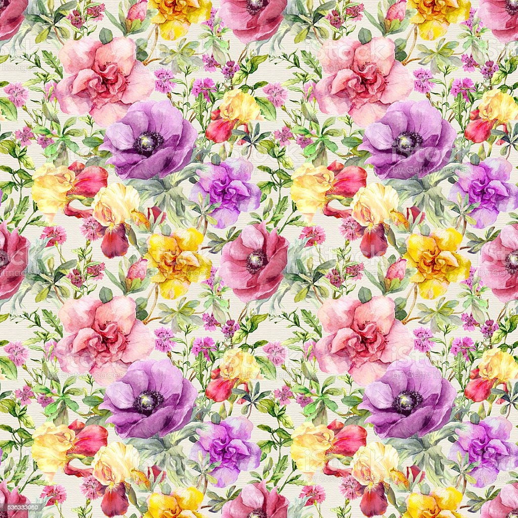 Flowers in meadow. Seamless floral pattern. Watercolor vector art illustration