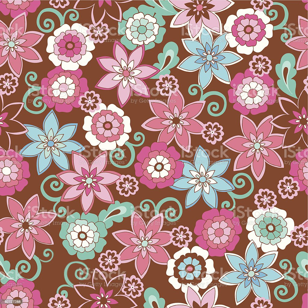 Flowers Seamless Repeat Pattern royalty-free stock vector art