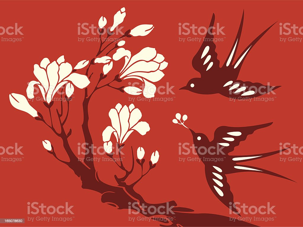 Flowers & Swallow Delight royalty-free stock vector art