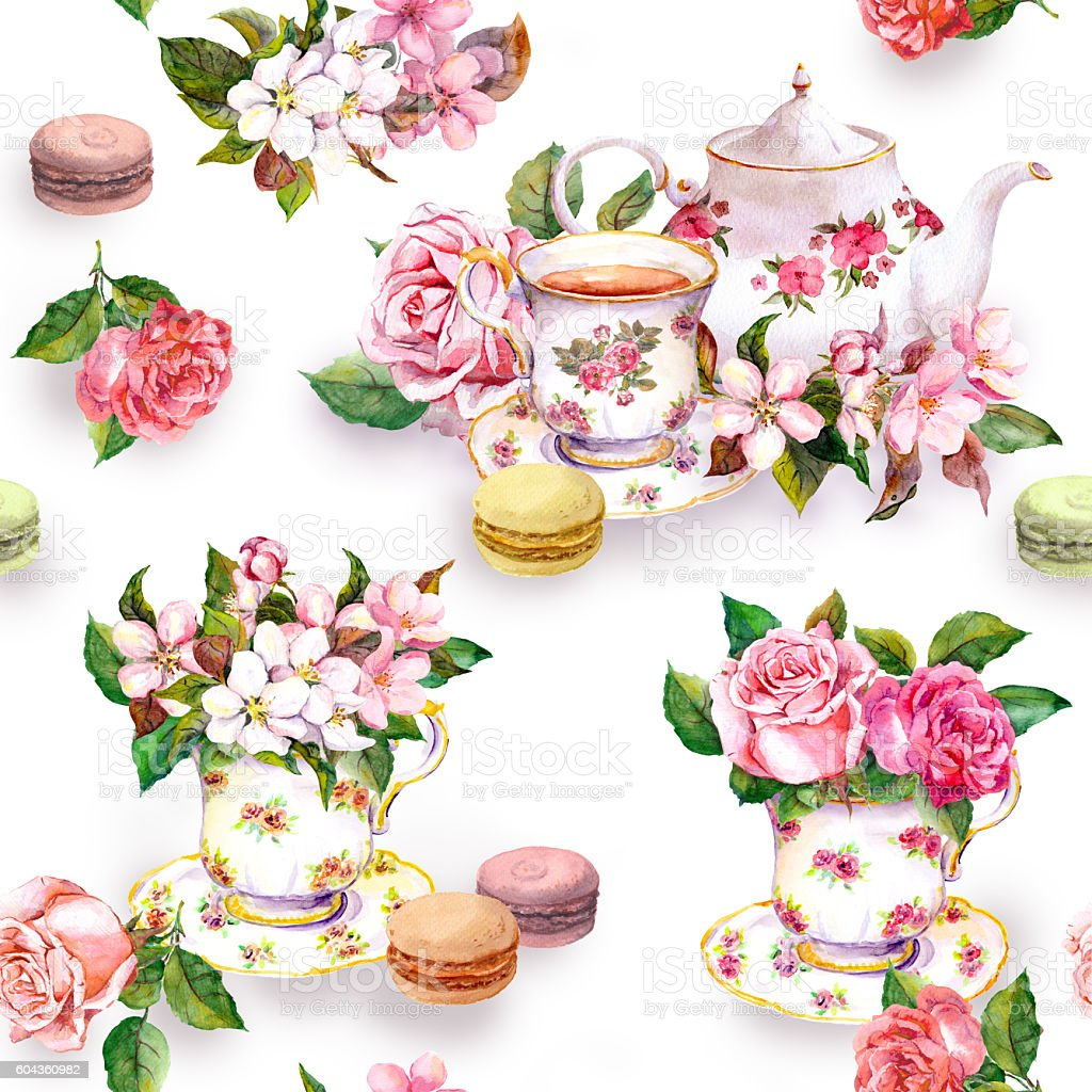 Flowers, tea cup, cakes, macaroons, pot. Watercolor. Seamless background vector art illustration